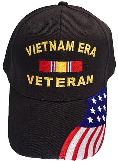 1306ac8c1d181 Image Unavailable. Image not available for. Color  Buy Caps and Hats  Vietnam ERA Veteran Baseball Cap American Flag Bill Mens Black