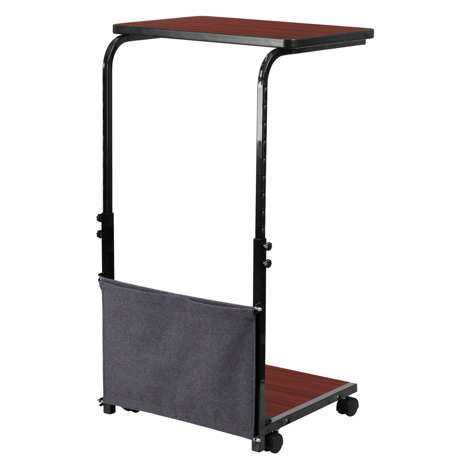 Mobile Sit-Down, Stand-Up Mahogany Computer Desk with Removable Pouch, Adjustable Range 27'' - 46.5'' + Expert Guide