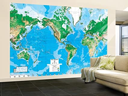 Amazon World Map Paper Wall Mural Home Kitchen