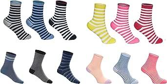 SG S.GIGEL 12 pares de calcetines infantiles para niños y niñas con un alto contenido de algodón Calcetines de deporte infantiles en varios diseños / tallas 23-26, 27-30, 31-34, 35-38
