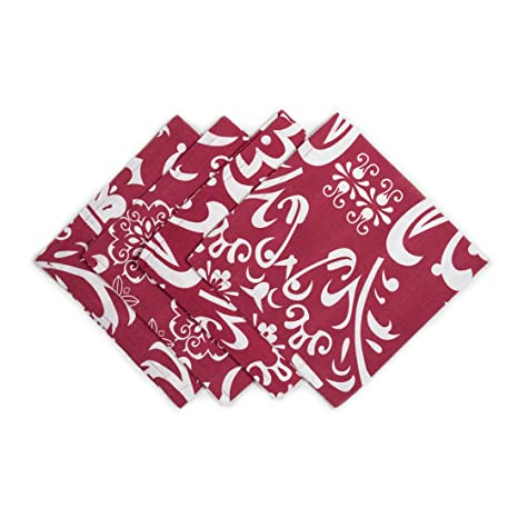 LinenTablecloth Burgundy and White Vintage Royalty Cotton Napkins, 20-Inch, 4-Pack