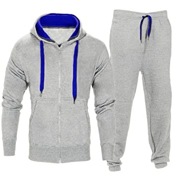 AIMEE7 Hommes Pantalons Extensibles Manteau à Capuche Veste Pantalon Jogging  Sports Survêtement Ensemble (Gris 20cbf2e1330