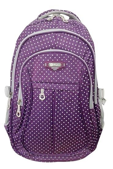 1cfc3b68a38 Amazon.com   Girl Multipurpose Dot Primary Junior High University School  Bag Bookbag Backpack (19 Liters, Purple)   Kids  Backpacks