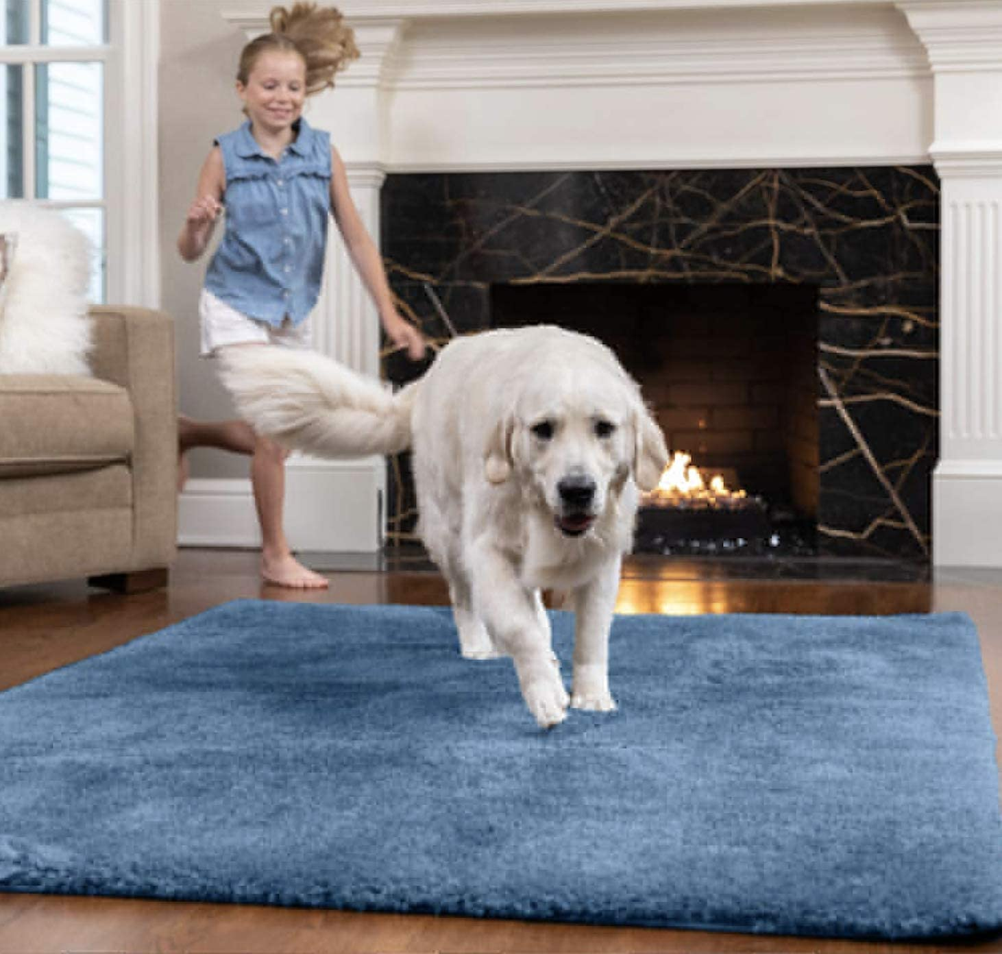GORILLA GRIP Original Faux-Chinchilla Area Rug, 5x7 FT, Many Colors, Soft Cozy High Pile Washable Kids Carpet, Rugs for Floor, Luxury Shag Carpets for Home, Nursery, Bed and Living Room, Blue