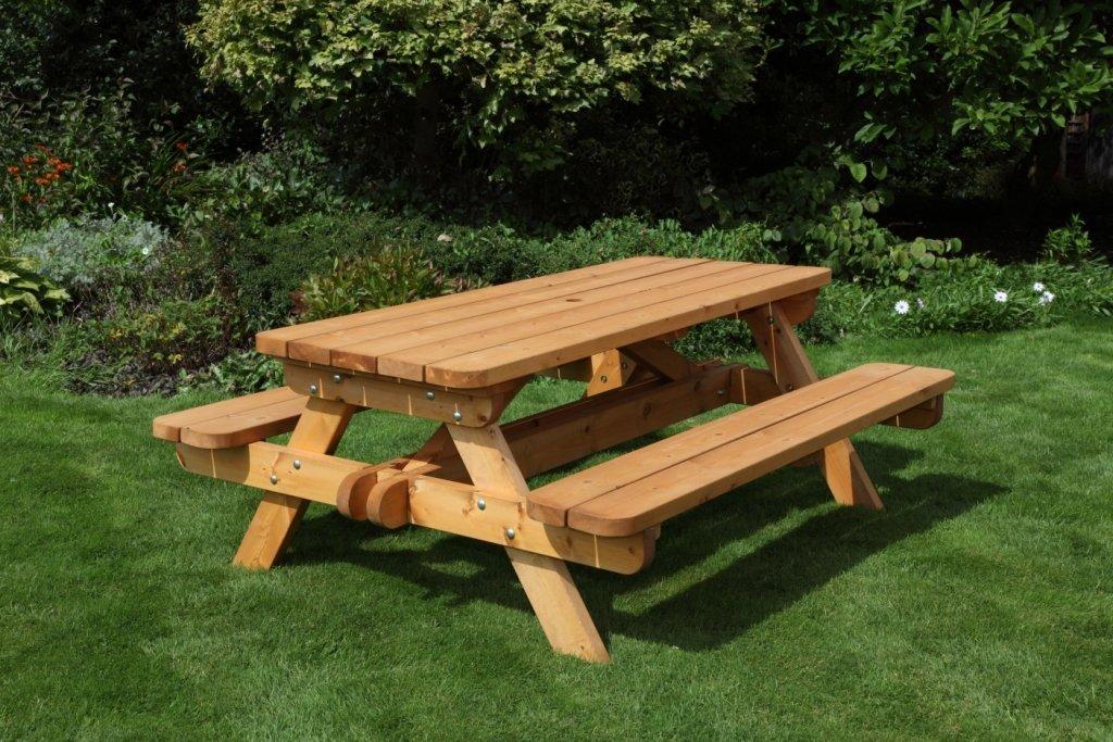 HGG Picknickbank aus Holz, strapazierfähig, Picknicktisch, Outdoor Gartenmöbel Terrassenmöbel aus massivem Holz