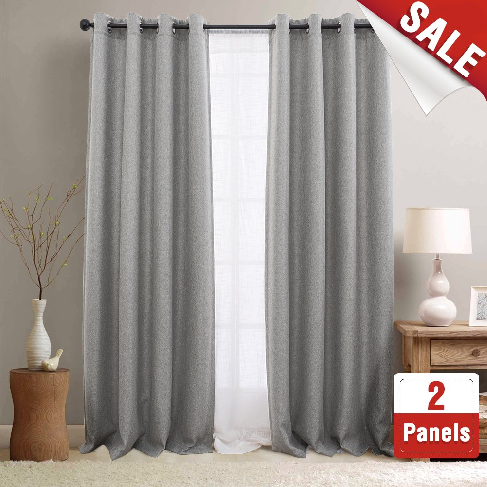 Jinchan Linen Fabric Moderate Blackout Curtain Panels For