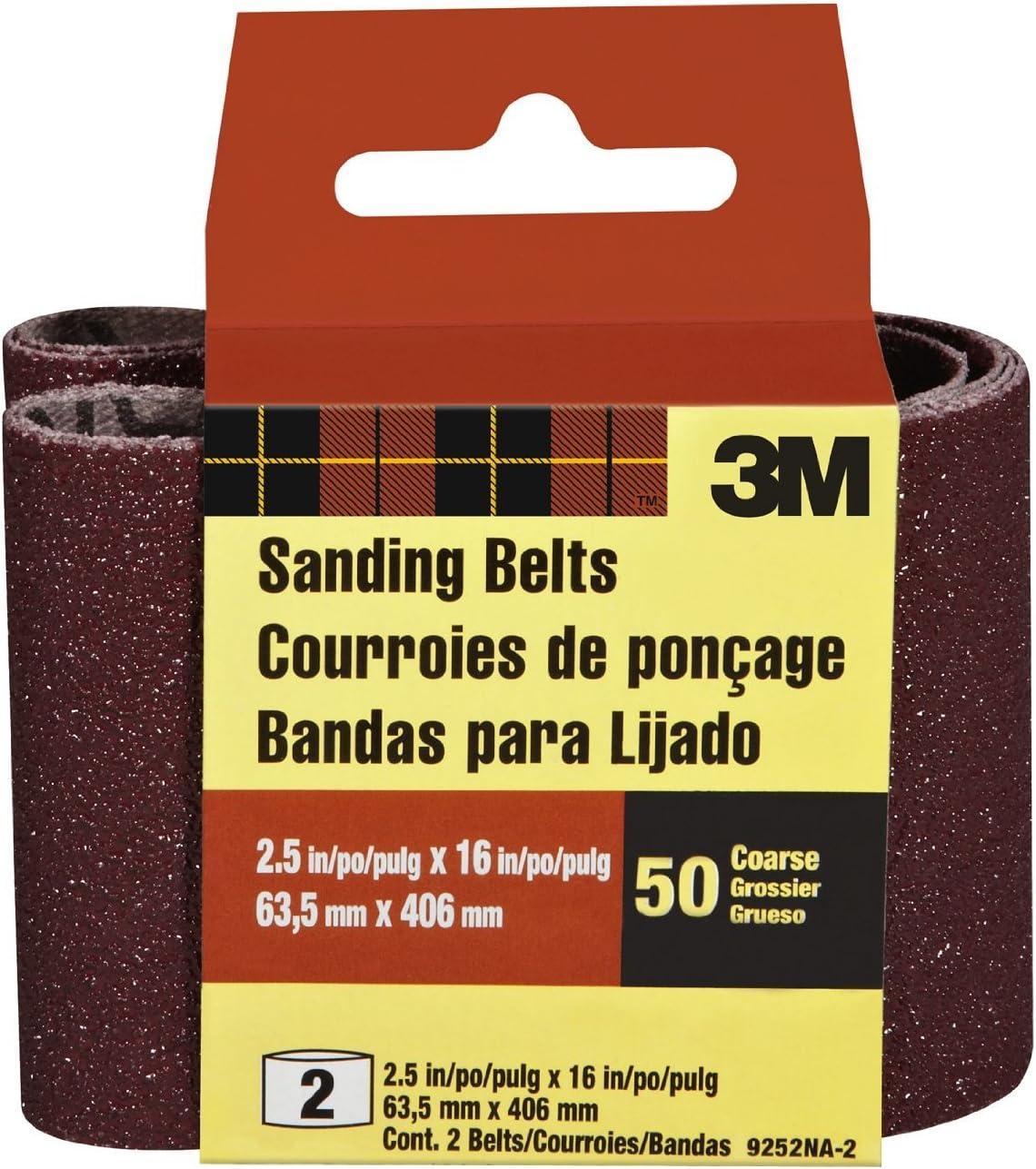"3M 9252NA-2 2-1/2"" X 16"" Coarse Power Sanding Belts 2 Pack"