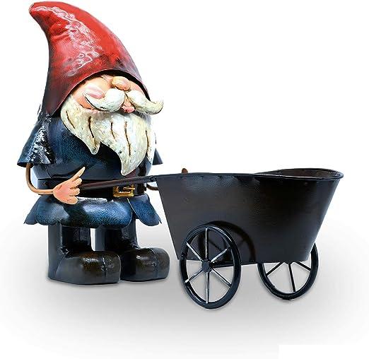 AB Tools Hand Painted Metal Garden Home Gnome Pushing Wheelbarrow Ornament