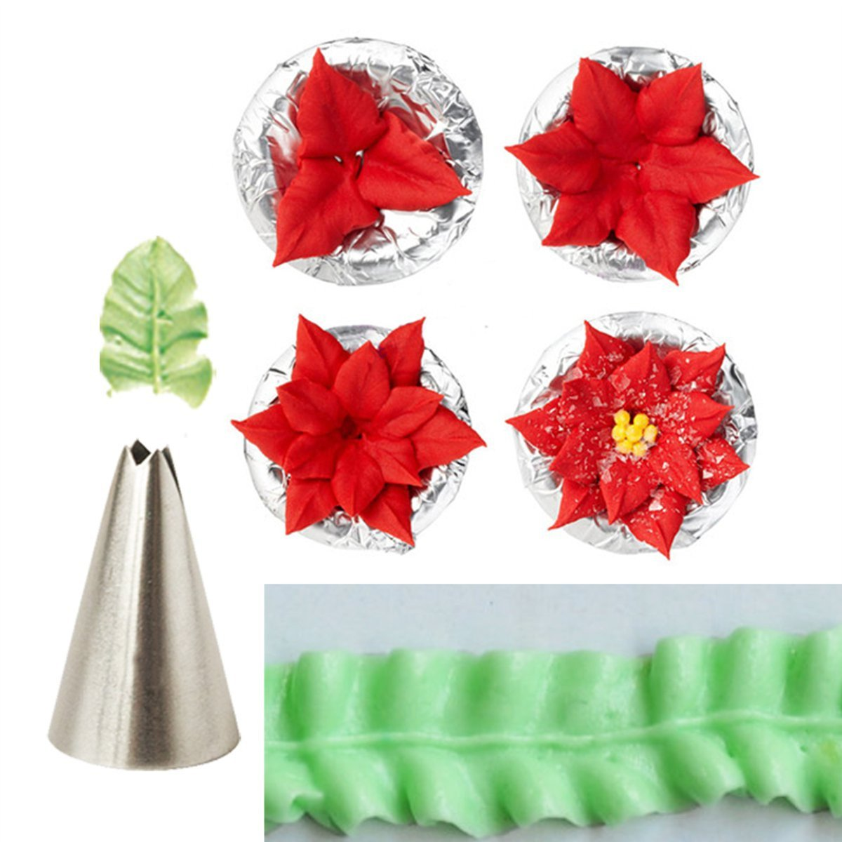 QOJA 7pcs leaf cup cake decor stainless steel icing piping nozzles