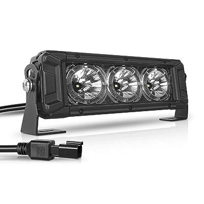 HIMA4X4 8 Inch Single Row LED Light Bar with DRL Daytime Running Light OSRAM LED Chip 30W Spot Beam Driving Fog Lights for Jeep Off Road Boat Trucks Pickup SUV ATV UTV,1Pack: Automotive