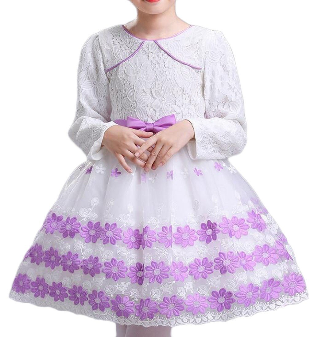 YUNY Girl Lace Stiching Long Sleeve Autumn Winter Wedding Dress White 100cm