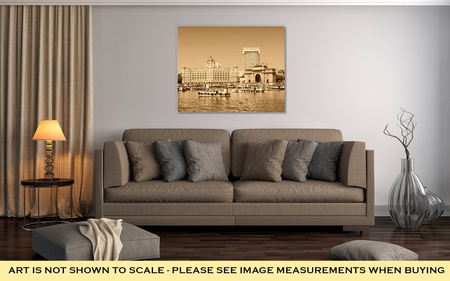 Ashley Canvas Taj Mahal Hotel And Gateway Of India, Home Office, Ready to Hang, Sepia 20x25, AG5933896