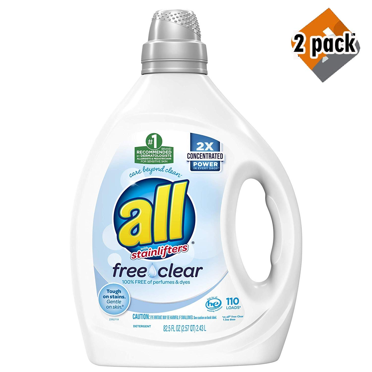 Liquid Laundry Detergent, Free Clear for Sensitive Skin, 2X Concentrated, 110 Loads (2 Pack)