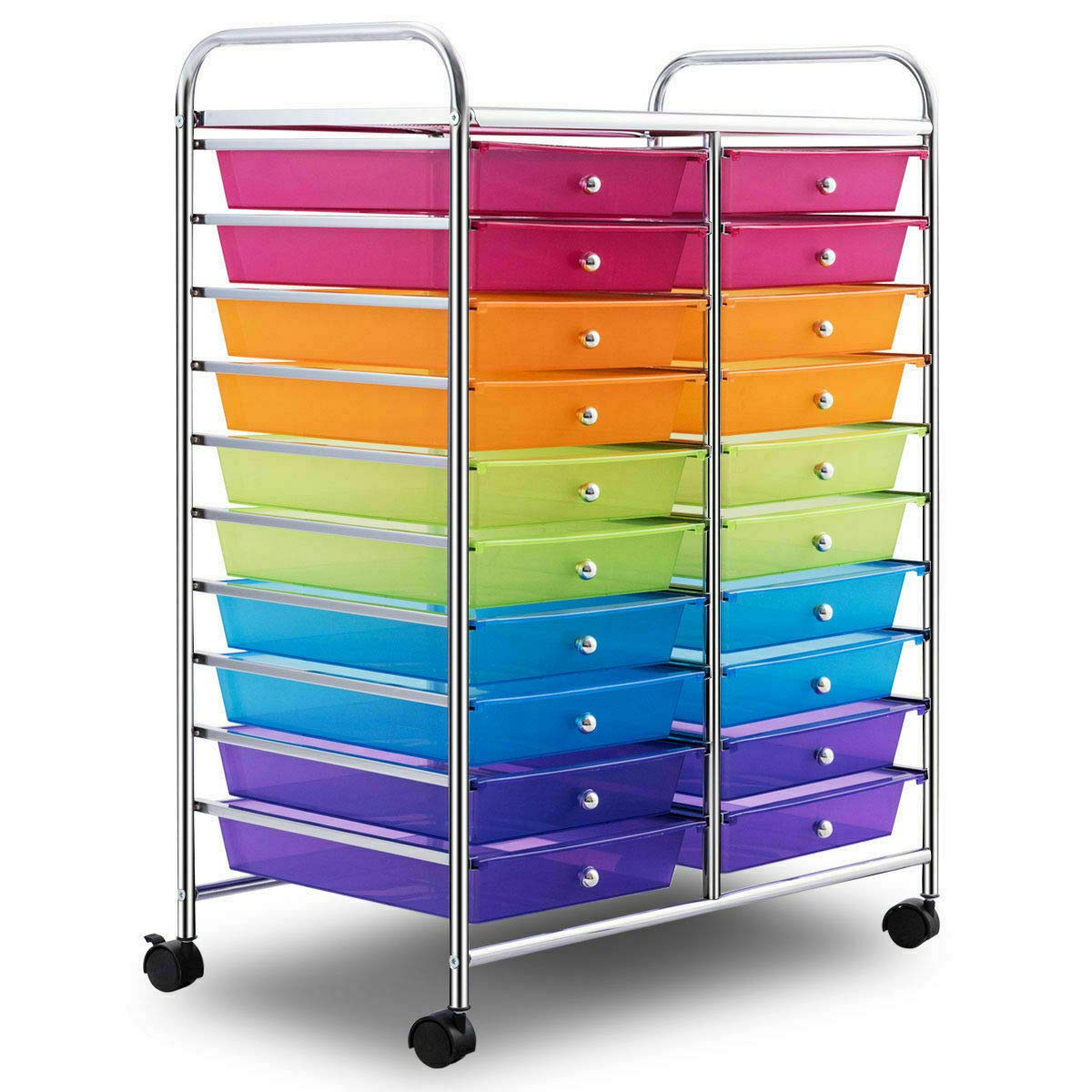 Mutli Color Rolling Scrapbook Paper Organizer School Office Studio Storage Cart w/ 20 Drawers with Ebook by FDInspiration (Image #7)