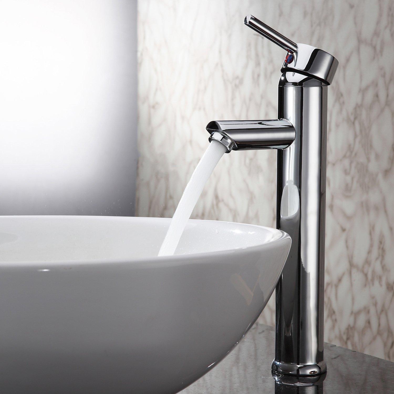 cheap Sprinkle Single Handle Contemporary Bathroom Lavatory Vanity Vessel Sink Faucet Chrome Tall Spout Deck Mount Bathtub Faucet Mixer Taps Cheap Discount Unique Designer Plumbing Fixtures Single Hole Bar Faucets