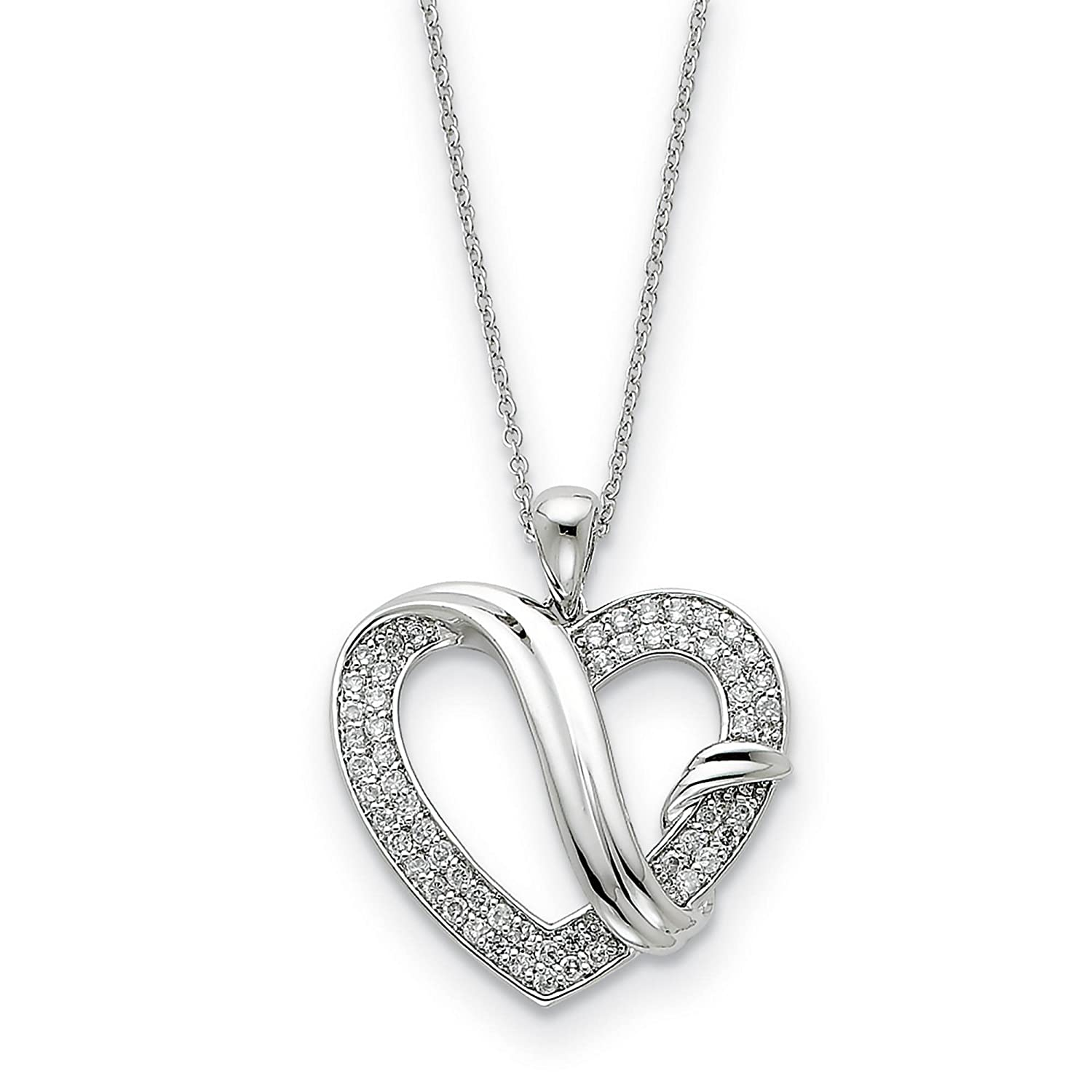925 Sterling Silver Polished CZ Forever Grateful Heart Pendant Necklace 18 by Sentimental Expressions