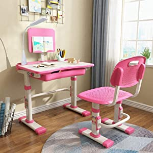 Yinleader Pink Height Adjustable Children's Desk and Chair Set ,Spacious Storage Drawer,with Adjustable Tilted Desktop, Bookstand, Touch Led Lamp,for School Students,Kids Interactive Workstation