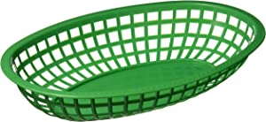 Winco Oval Fast Food Baskets, 10.25-Inch by 6.75-Inch by 2-Inch, Green