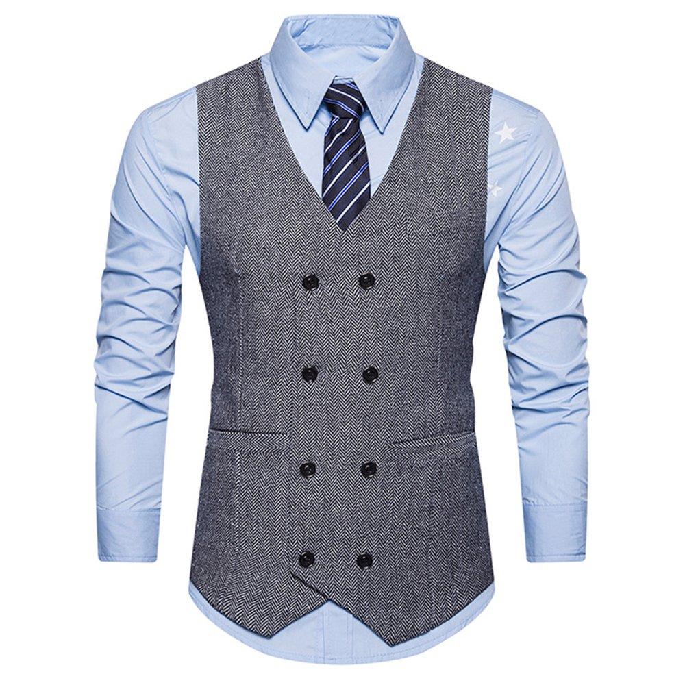WEEN CHARM Men's Business Suit Waistcoat Double Breasted Tweed Slim Fit Dress Tuxedo Vintage Gentleman Vest V-Neck