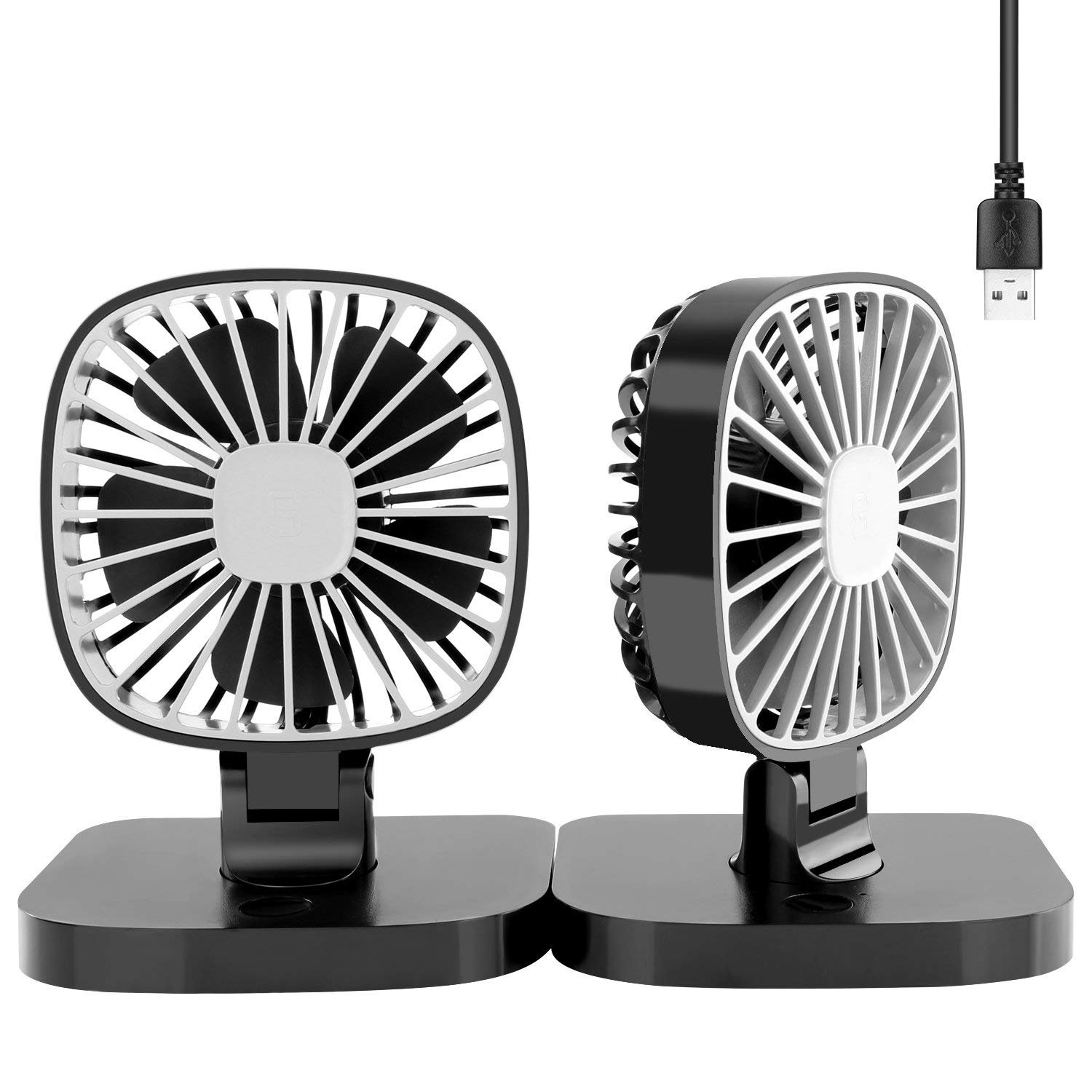 COMLIFE Dual Head USB Electric Car Fan, Rotatable Car Cooling Fan with 3 Speeds, Quiet Powerful Car Air Circulator Fan for 12V Vehicles - Effectively Blow Out Hot Air, Smoke, Odors
