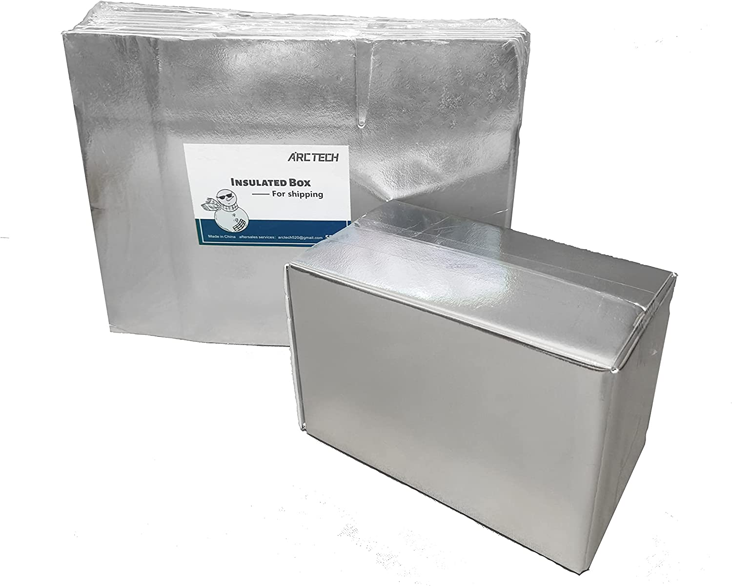 ARCTECH insulated shipping foam Aluminum foil box X 5packs , useful size 9.8X5.7X7'' Thermo Chill Double Insulated delivery mail mailing carton for fresh, frozen sea food, milk, meat.