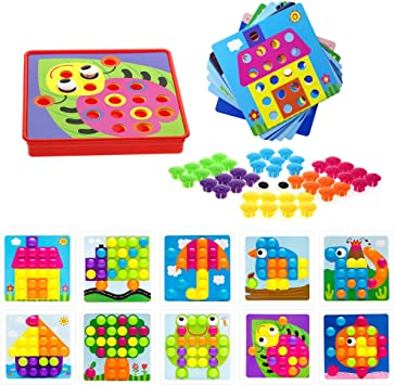 Yea Button Art Preschool Learning Toys Color Matching Mosaic Pegboard Set For 3