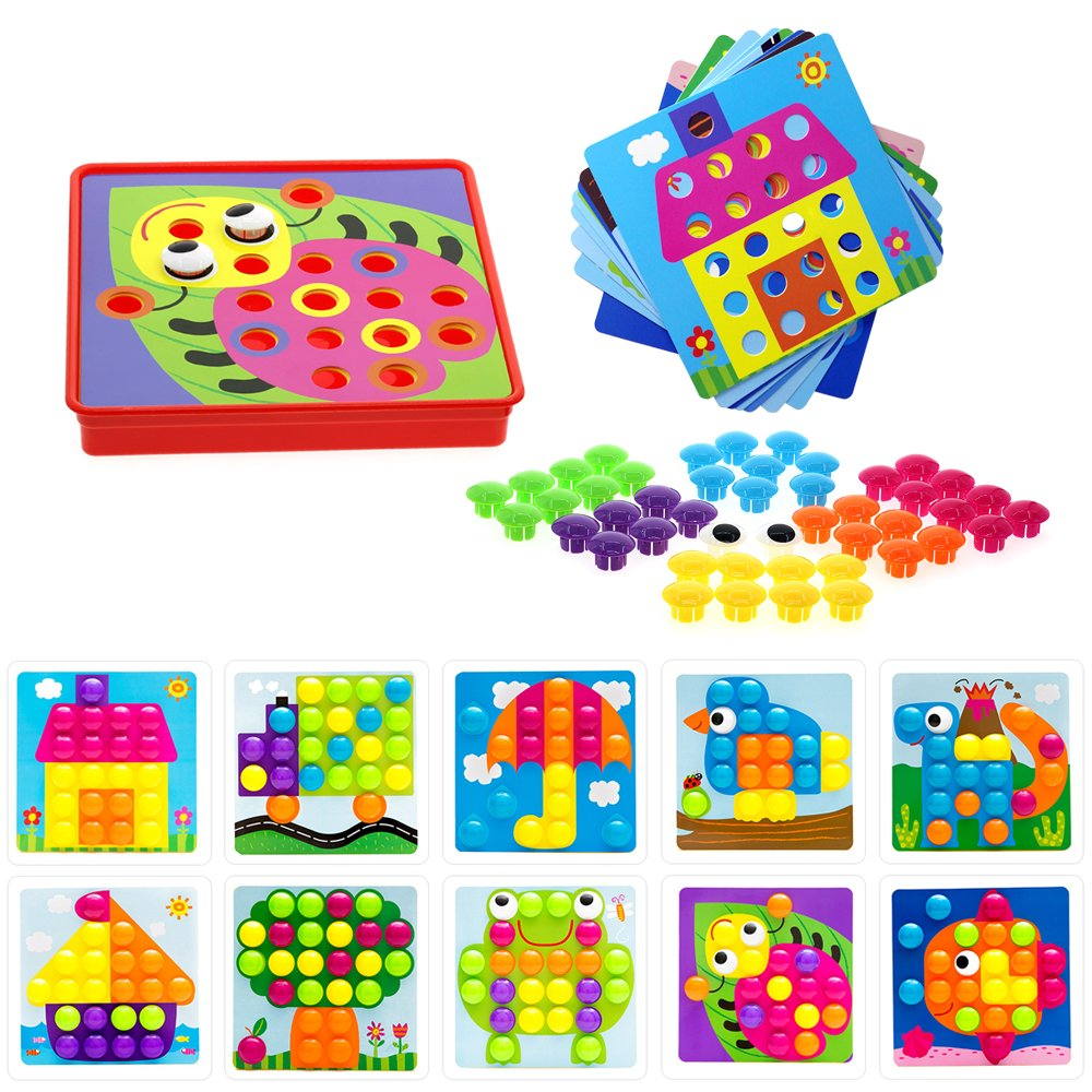 Soyee Button Art | Early Learning Toys | Color Matching Mosaic Pegboard Set for 3+ Year Old Boys & Girls