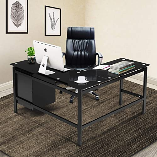 Black L Shaped Computer Office Desk