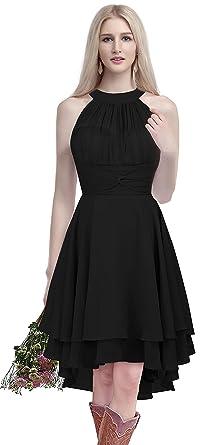 Menaliadress Chiffon Halter High Low Country Bridesmaid Dress