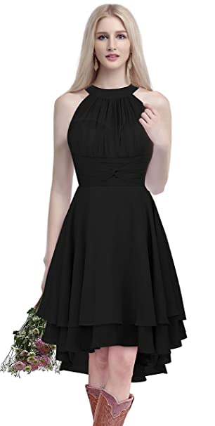 cf9ccc0e68 ThaliaDress Short Chiffon Halter Hi Lo Country Bridesmaid Dress Prom Gown  T052LF Black US0