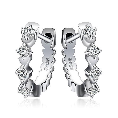 JewelryPalace Pendientes de Aro Con Brillante Zirconia Cúbica Huggie Plata de ley 925