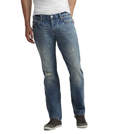 c493e646cf5 Aeropostale Mens Slim Straight Light Wash Destroyed Jeans 27x28 Blue ...