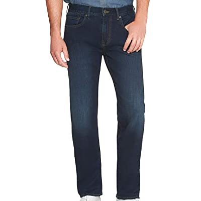 Banana Republic Mens 359319 Straight-Fit Stretch Scrape Jean, Dark Wash at Men's Clothing store