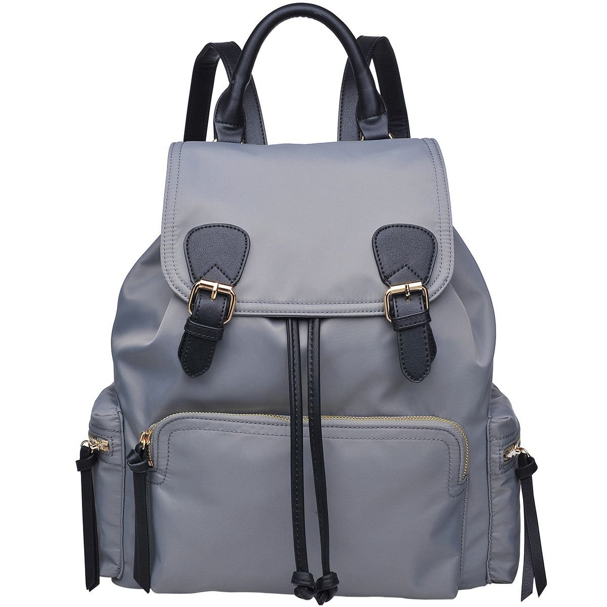 Urban Expressions Top Flap Double Buckle Yoga Backpack - Women's Grey/Black, One Size