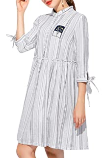 Les umes Womens Swing Pleated Cute Retro Modest Striped Stripe Topshop Dress