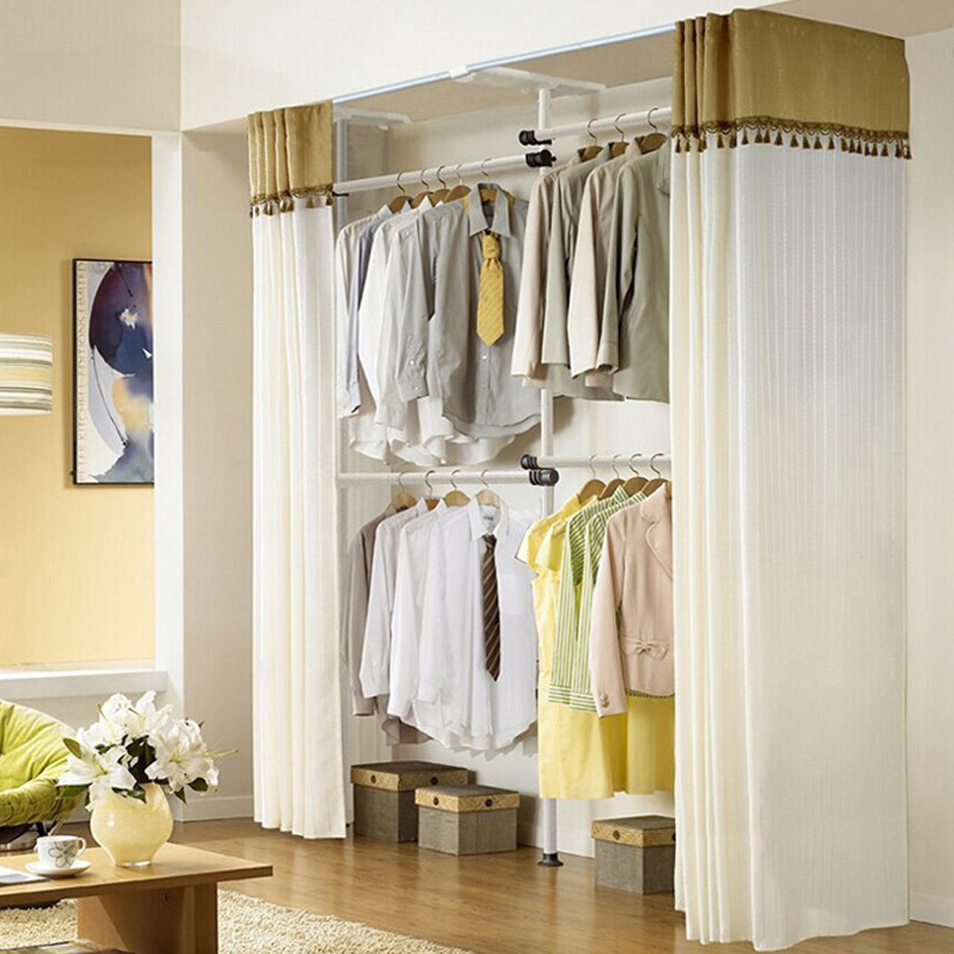 Adjustable Clothes Racks, Asunflower 2-Tier Steel Pipe Garment Closet Free Standing Portable Wardrobe - Ivory Clothing Rack + Ivory Curtain