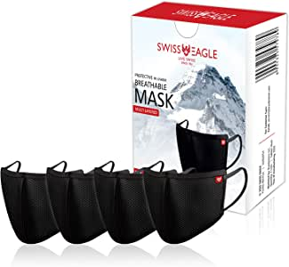 Swiss Eagle Black Cotton Respirator 6 Layer Reusable Outdoor Face Mask (PACK OF 4)