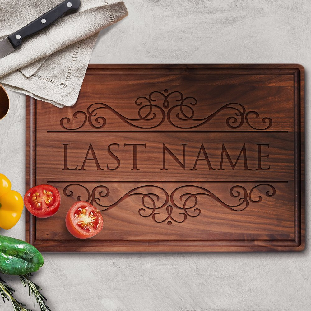 P Lab Personalized Cutting Board, Custom Engraved Cutting Board with Juice Drip Groove, Christmas Gift, Wedding Gift, Anniversary Gift, Housewarming Gift (11'' x 17'' x 1'') Walnut Large Rectangular #M by Personalization Lab