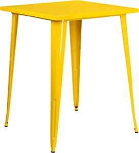 """Flash Furniture Commercial Grade 31.5"""" Square Yellow Metal Indoor-Outdoor Bar Height Table"""
