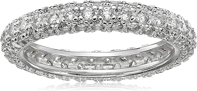 S925 Sterling Silver Pave Setting Cubic Zirconia Girl/'s Ring//18k GP