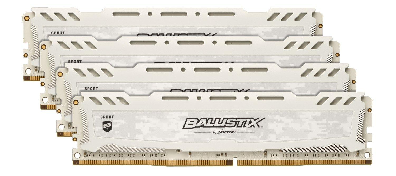 Crucial Ballistix Sport LT 2666 MHz DDR4 DRAM Desktop Gaming Memory Kit 64GB White 16GBx4 CL16 BLS4K16G4D26BFSC