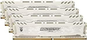 Crucial Ballistix Sport LT BLS4K16G4D240FSC 2400 MHz, DDR4, DRAM, Memoria Gamer Kit para ordenadores de sobremesa, 64 GB (16 GB x 4), CL16 (Blanco)