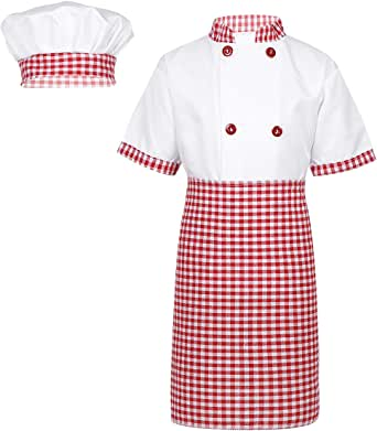 inhzoy Disfraz de Cocinero para Niños Niñas Cosplay Traje de Chef ...