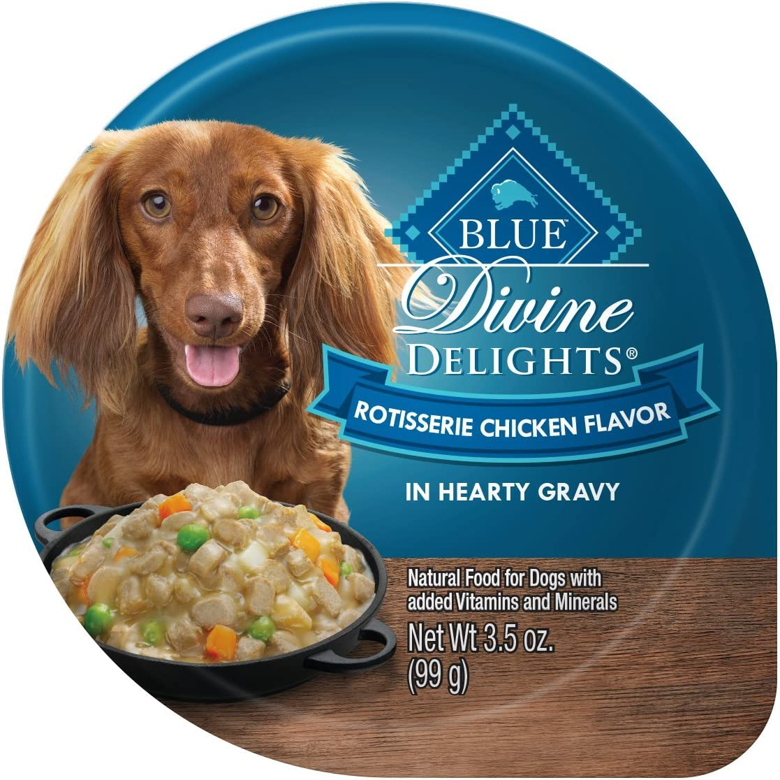 Blue Buffalo Divine Delights Natural Adult Small Breed Wet Dog Food, Rotisserie Chicken Flavor in Hearty Gravy 3.5-oz, 12 Pack