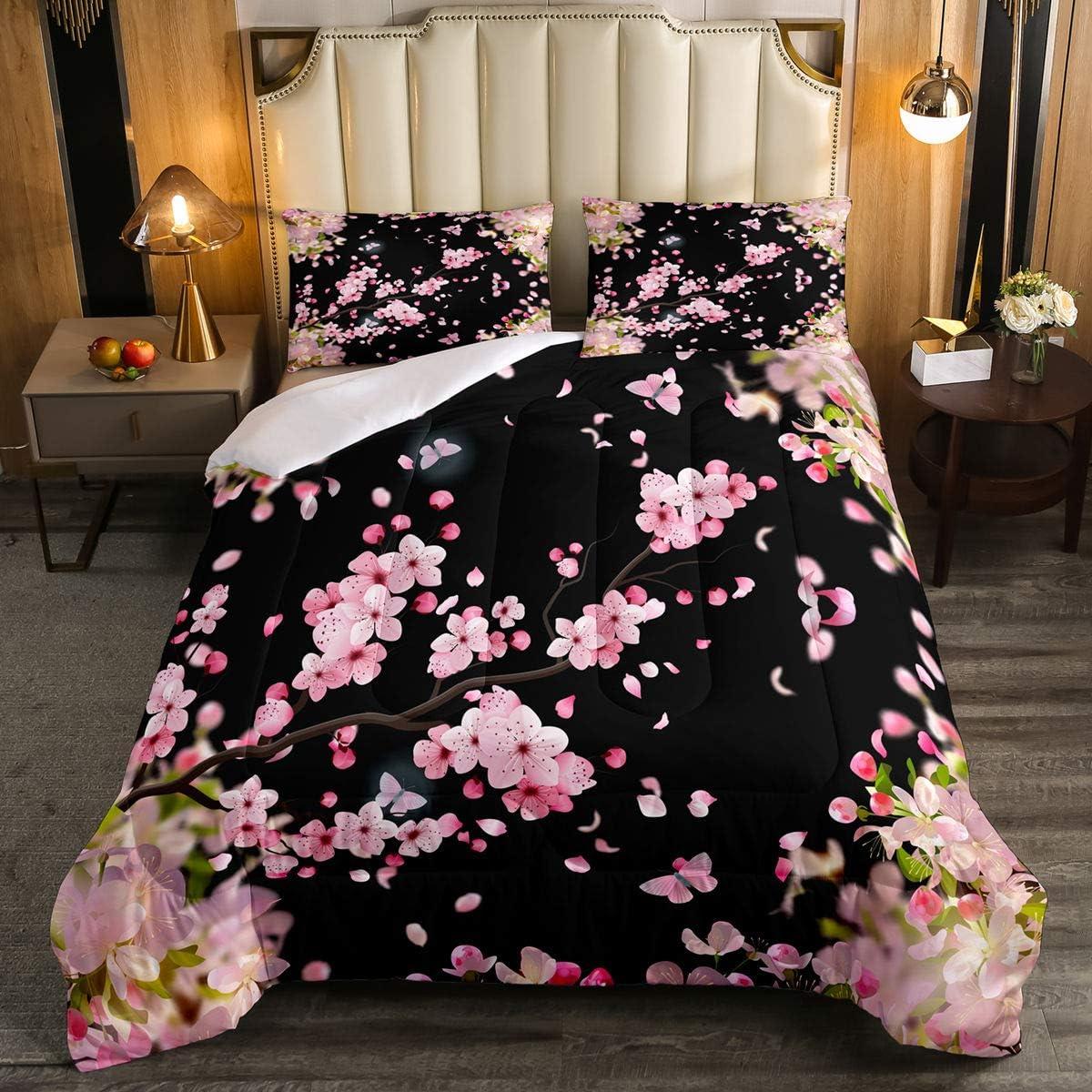 Cherry Blossoms Bedding Comforter Set,Japanese Style Duvet Insert Girls Woman Nature Plant Flower Floral Down Alternative,Decor 2Pcs Bedding Set