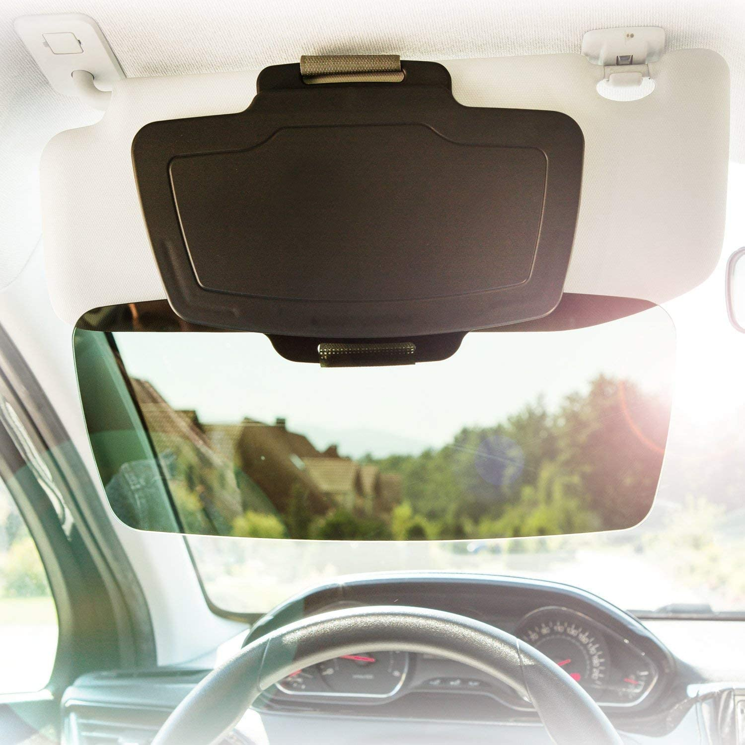 Universal fit for All Cars 1 Piece Protects from Harmful UV Rays EcoNour Anti Glare Car Sun Visor Extender Windshield and Side Window Sunshade