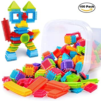 100pcs 3D Building Puzzle Games DIY Toys Fatchot Bristle Shape Educational