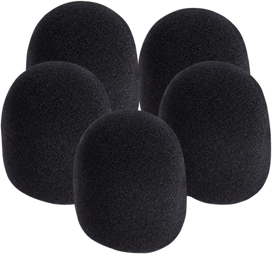 OVERMAL/_Accessory Foam Ball-Type Mic Anti Saliva Windscreen for Microphones Black