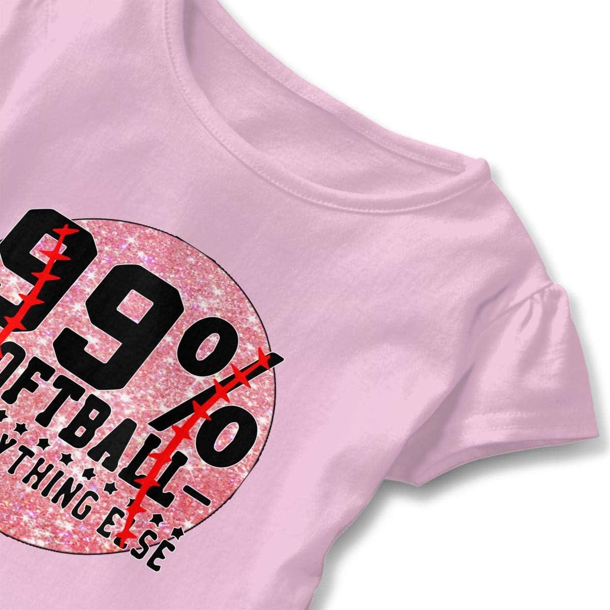 Cheng Jian Bo 99/% Softball 1/% Everything Else Toddler Girls T Shirt Kids Cotton Short Sleeve Ruffle Tee