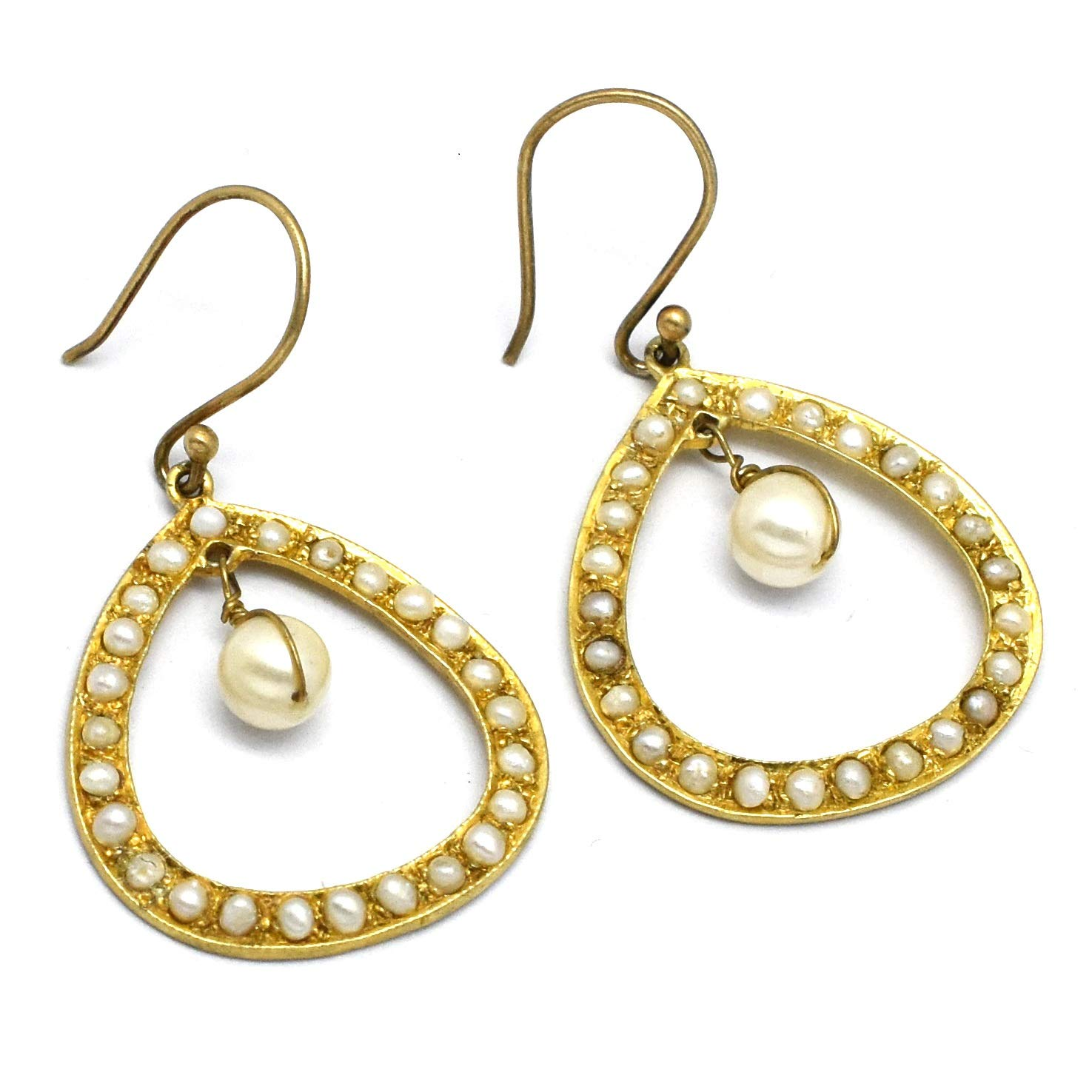 The V Collection earrings 22k yellow gold plated pearl beads dangling earrings for women and girls
